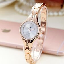 Women's Stylish Rose Gold Round Shiny Rhinestone Dress Quartz Bracelet Watches