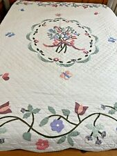 """WOW GORGEOUS Vintage Hand Stitched Hand Quilted Applique Quilt 86"""" x 86"""""""