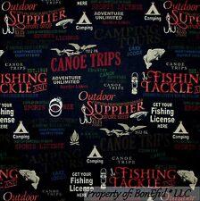 BonEful FABRIC FQ Cotton Quilt Men Hunt Fish Sport Log Cabin Bird Camp Deer Word