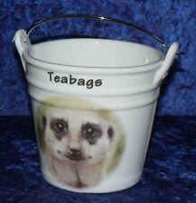 Meerkat teabag tidy bucket Bucket shaped teabag tidy meerkat face Gift boxed opt