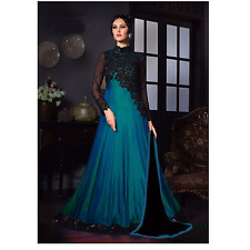 Designer Indian Blue Black Gown Bollywood Saree Party Wear Women Sari Lehenga