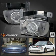 For Honda 92-95 Civic 4Dr Sedan Clear Fog Lights Bumper Lamps+Switch