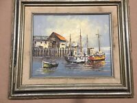 W Jones Oil Painting Harbor Scene Ships Boat Dock  Art Mid Century Signed