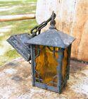 Vintage Gothic Tudor Arts & Crafts Cast Iron Porch Lantern LIght Fixture