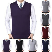 2019 Stylish Men's Warm Solid Vest Business Knit V-Neck Sweater Plus Size SF
