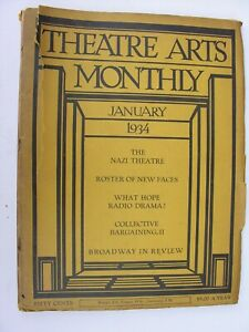 THEATRE ARTS MONTHLY Jan 1934 Nazi Germany Berlin Katharine Hepburn Elisha Cook
