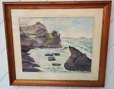 Original Nautical Painting of a Seacape Framed on Wooden Frame