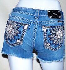 Miss Me Jeans Mason Crystal Leather Sunflower Daisy Duke Shorts JP5721H2 Size 27