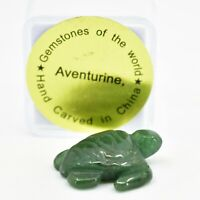 Aventurine Quartz Gemstone Tiny Miniature Sea Turtle Hand Carved Stone Figurine