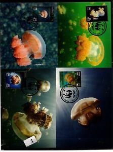 / PALAU - 4 MC - WWF - NATURE - MARINE LIFE - JELLY FISH - 2014