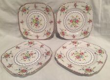 "Royal Albert PETIT POINT Square 7 3/4"" SALAD PLATE Lot of 4 ENGLAND 778676"