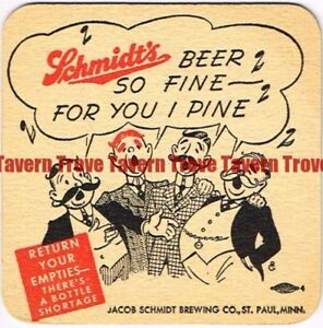 "1940s MINNESOTA St Paul SCHMIDT BEER cartoon barbershop quartet set 3½"" Coaster"