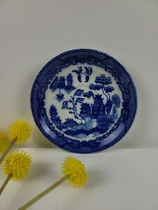 Maruta China Saucer - Blue Landscape - Made in Occupied Japan