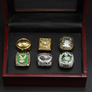 6pcs Philadelphia Eagles World Championship Ring Display Set with Box8