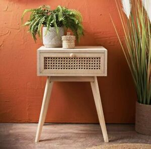 Urban Paradise Bedside Table Vintage Cane Side Table Cabinet Lamp Table Natural