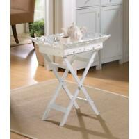 elegant ornate White Wood cottage Shabby FOLDING serving tray drawer Table stand