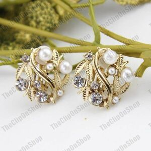 CLIP ON earrings PEARL CRYSTAL gold fashion CLIPS retro vintage style rhinestone