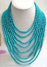 "Long 100"" Tibet Small 6mm Turquoise Beads jewelry Necklace"
