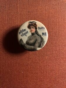 Vintage Advertising Pinback Celluloid Widow Jones Shirt Button Whitehead Hoag