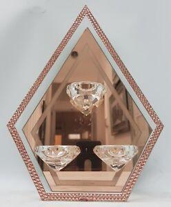 Sparkly Rose gold Mirrored Triple Crystal Diamond 3 Tealight holder