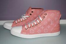 NIB RARE Louis Vuitton PINK DENIM HI-TOP SNEAKERS TENNIS Shoes, 39.5, US 9.5, 9