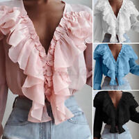 Womens Blouse Long Sleeve Casual Button Ruffled Shirt Ladies Crop Tops Plus Size