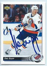 Uwe Krupp signed 1992-93 Upper Deck hockey card New York Islanders autograph