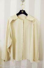 Vtg 80's Cream Blogger Collarless Blouse Street Style Button Utility Shirt 10 12