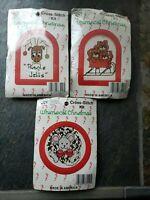 Lot Of 3 Vintage  Christmas Cross Stitch Kits / W Frames