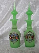 Antique Hand Blown Green Hand Decorated Apothecary Bottles/Perfume Moriage