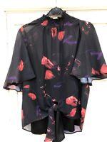 New Gorgeous COAST Nyla Black Floral Print Tie Hem Party Top  6 - 24 RRP £69