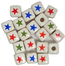 9mm 4-COLOR STARS Peruvian Ceramic Cube Beads, Horizontal Holes: Packs of 20 /79