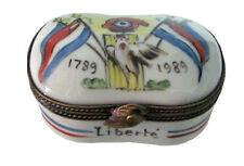 Handpainted Porcelain Limoges Box - Oval Memorial 1789-1989
