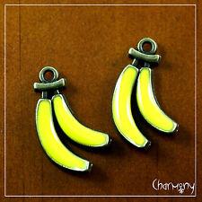 Bronze-tone Banana charms ~PACK of 2~ yellow enamel fruit food bunch pendant