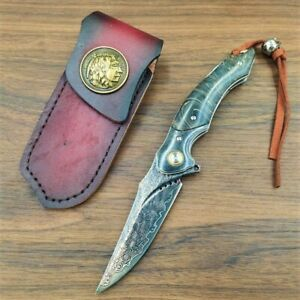 Exotic Handmade Forged VG 10 Damascus Steel Stable Wood Handle Folding Knife