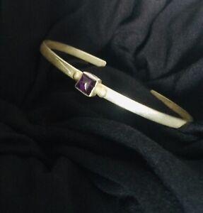 NAKAI Navajo Sterling Silver Amethyst Cuff Bracelet VTG
