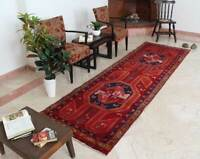 3x11 Oriental Vintage Hand Knotted Wool Traditional Red Runner Area Rug