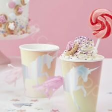 Iridescent Foiled Unicorn Tassel Paper Cups Girls Disposable Party Tableware x 8