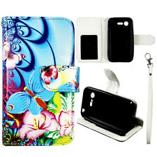 For LG Optimus Zone 2 Fuel VS415PP L34C Blue Butterfly Wallet Leather Case Cover