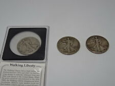 More details for 3 x walking liberty .900 silver half dollar coins - 1942 x 2 - 1946 x 1
