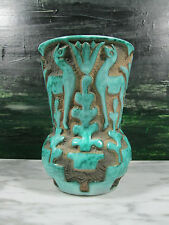 ART DECO ITALIAN ART POTTERY HAND RELIEF CARVED DEER VASE TURQUOISE GLAZE ITALY