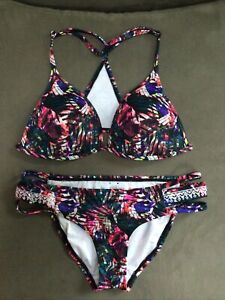 Victoria Secret PINK M Top, S Bottom Strappy Cheeky Embroidered ABSTRACT Bikini