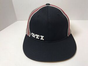 SHIPS FREE Embroidery GTI Cap 2 Tone Black Gray Large Hat Volkswagen Racing