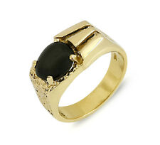 Men's 1980's Style Nugget Ring 1.0 ct Star Sapphire 14k Solid Gold