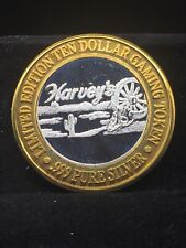 $10 .999 fine silver casino gaming token THE PARTY AT HARVEYS LAKE TAHOE