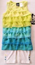 PoGo Clubl of NY Girls outfit Yellow & Aqua Ruffle Shirt & White Pants sz 5 NWT