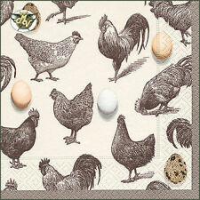 20x Lunch Paper decoupage napkins. Easter, chicken, eggs, what came first- E32P