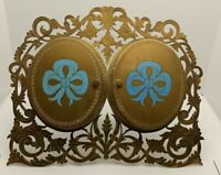 Early 1900 Tiffany & Co. Union Square Tabletop Locket 4 Picture Frame Blue Bows