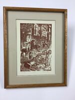 """Elfriede Abbe Wood Engraving """"Sixth Day"""" Edition 50"""