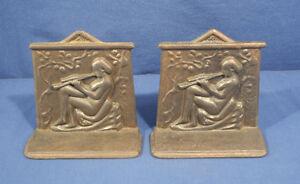 Vtg Art Deco Nouveau Cast Iron Bookends Nude Maxfield Parrish Era Flute Player